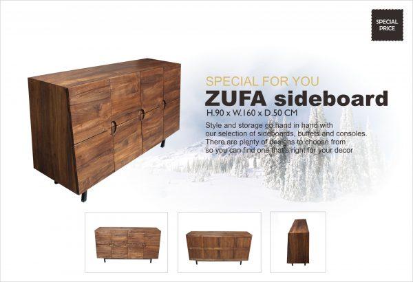 Zufa Indoor Teak Modern Sideboard