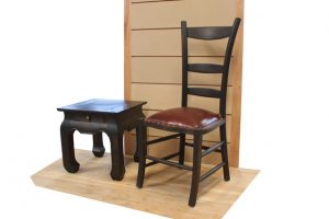 COUNTRY LEATHER SEAT H102 W D OPIUM SIDE TABLE H50 W50 D50