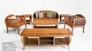 Curva Wooden Living Set Furniture