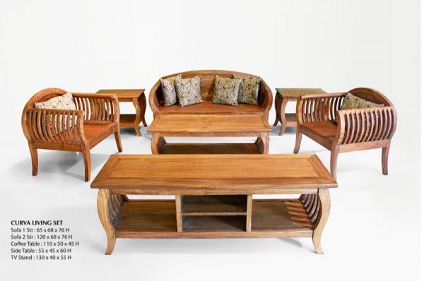 Curva Wooden Living Set Furniture