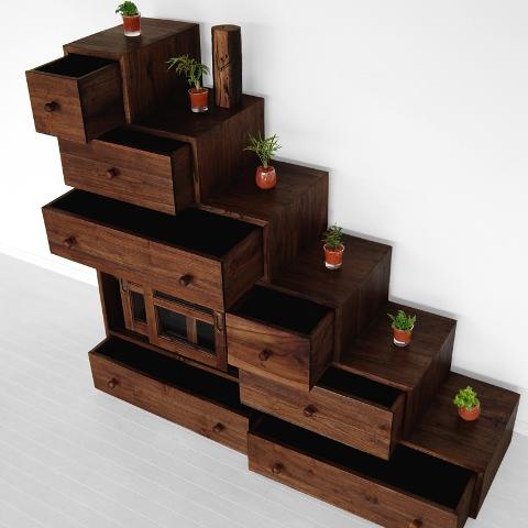 Japanesse Step Cabinet Indoor Teak Furniture