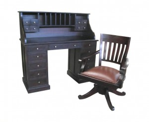 Madison Roll Top Writing table & Orchid Swivel Chair leather seat