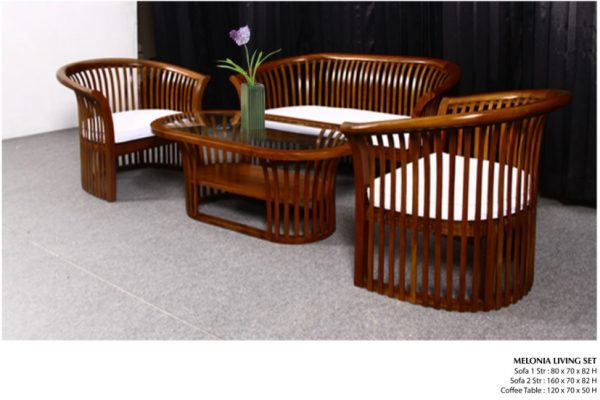 Melonia Wooden Living Set Furniture