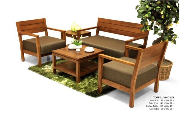 Toppe Wooden Living Set Furniture